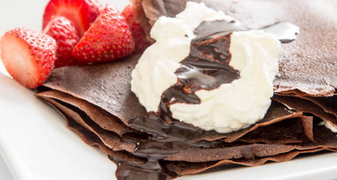 Chocolate Crepes with whipped cream