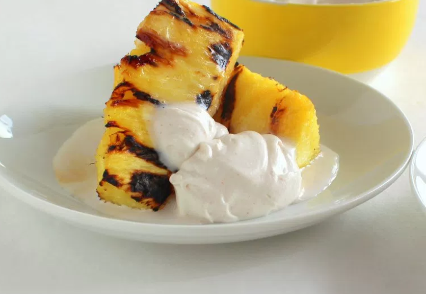 Grilled Pineapple with Whipped Cream
