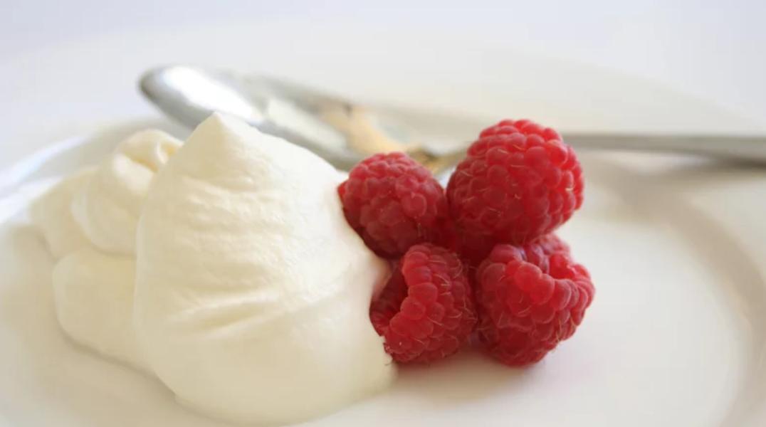 Marinated Raspberries with Honey Cream