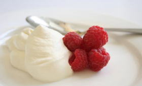 Marinated Raspberries with Honey Cream