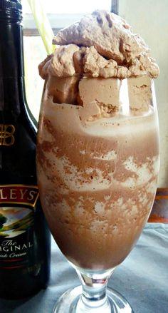 Frozen Bailey's Irish Cream Hot Chocolate with Chocolate Whipped Cream