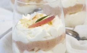 Vineyard peach dessert in a glass