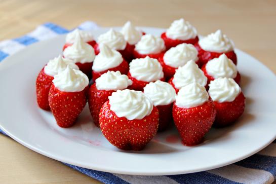 Cheesecake Whipped Cream Stuffed Strawberries
