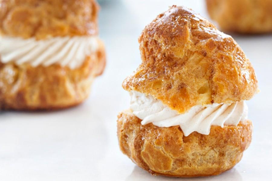 Churro Cream Puffs with Cinnamon Whipped Cream