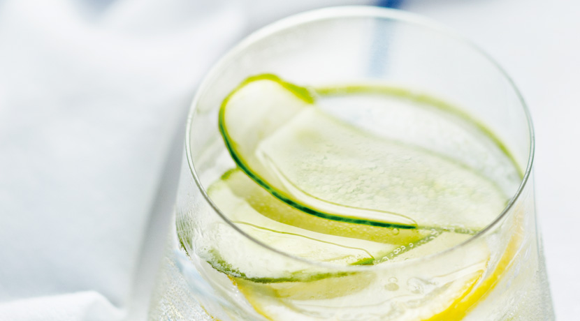 Refreshing Soda Water with Cucumber and Lemon Slices