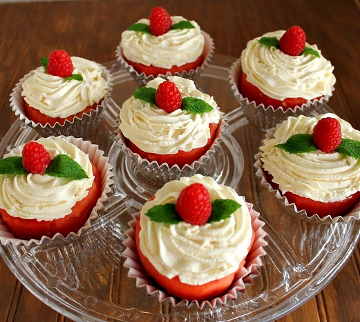 Watermelon Cupcakes with Vanilla Whipped Cream