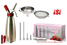 iSi Gourmet Whipper Quart- Injector Tips- Funnel- 24 Sparkwhip Chargers by iSi