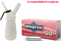 TW Mosa White 1/2 Pint Whipped Cream Dispenser - 50 WhipRite Chargers